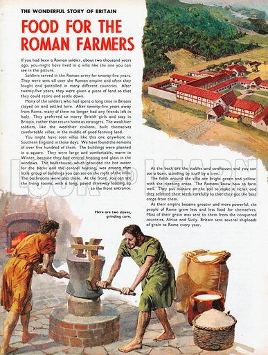 The Wonderful Story of Britain: Food for the Roman Farmers. Slaves working for Roman farmers in Britain.