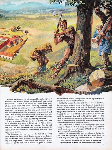 The Wonderful Story of Britain: Food for the Roman Farmers. Slaves felling trees for Roman farmers in Britain.