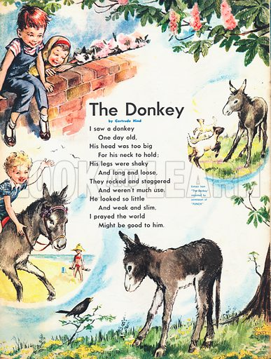 Extract from the poem The Donkey by Gertrude Hind, with vignettes of comic episodes involving a donkey.