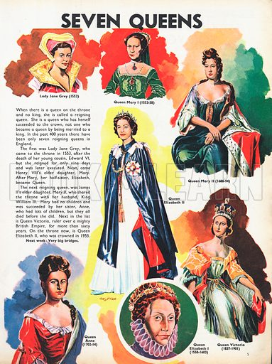Seven Queens shows those who actually succeeded to the crown rather than simply meriting it by virtue of being married to a king.