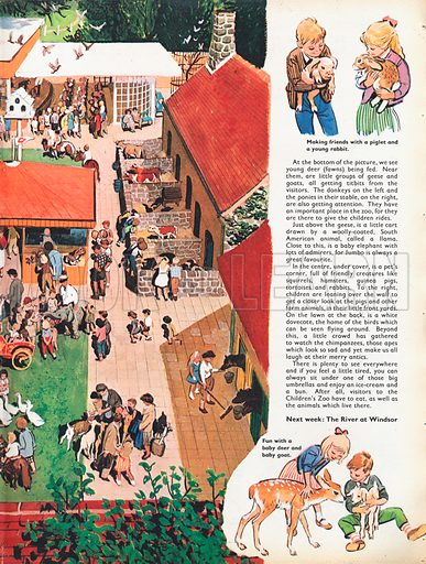 Children's Zoo shows an aerial view of the zoo filled with farm animals and common pets, with vignettes of happy children.
