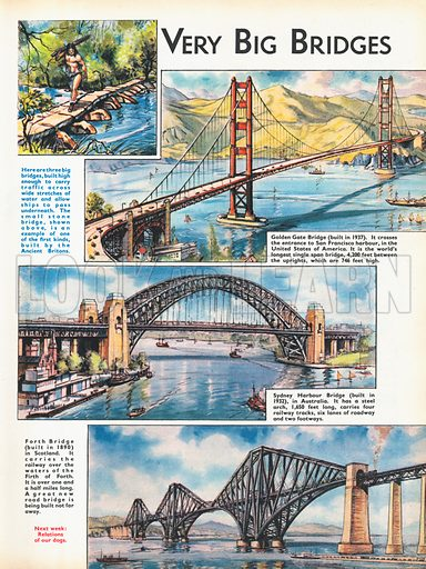 Very big bridges shows three modern bridges from across the world and a small stone bridge from Ancient Britain.