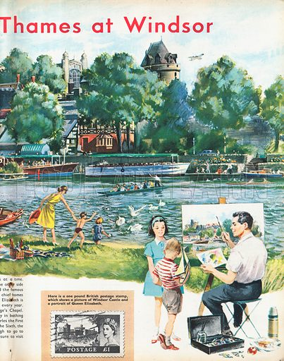 The River Thames at Windsor shows families enjoying a day on the river, having a picnic, painting and boating.