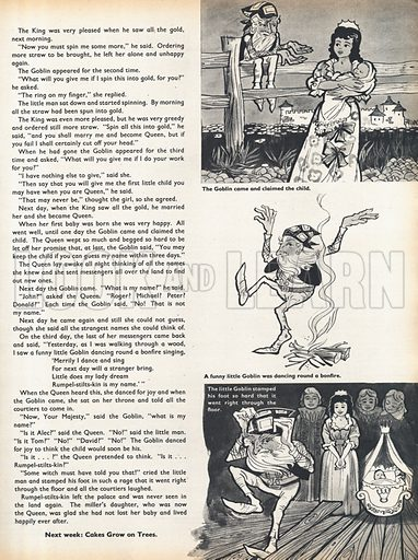 Three scenes from the fairy-tale Rumpel-stilts-kin by the Brothers Grimm.