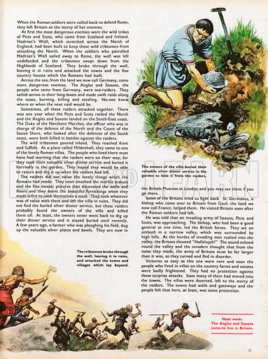 The Wonderful Story of Britain: The wild tribes attack Britain. Roman Briton burying silver as tribesmen attack.