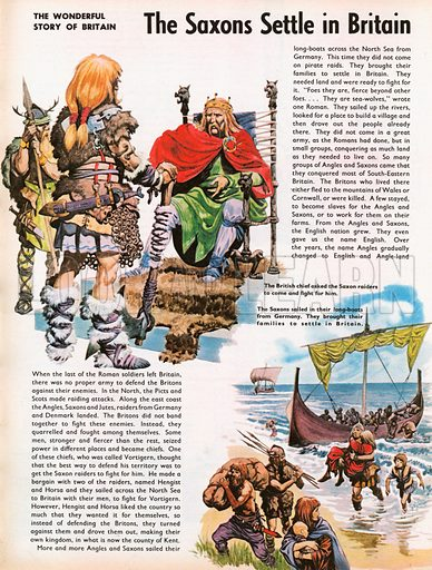 The Wonderful Story of Britain: The Saxons Settle in Britain. Saxon raiders arrive in longboats after British chief asks for their help.