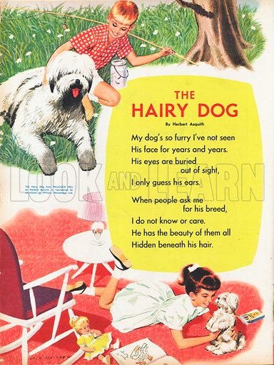 The text of the poem The Hairy Dog by Herbert Asquith with pictures of a boy with an Old English Sheepdog, and a girl with a terrier.