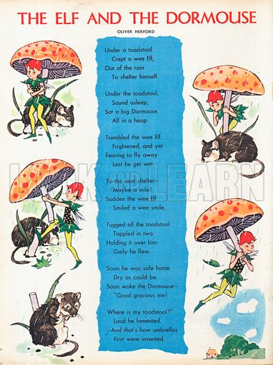 The text of the poem The Elf and the Dormouse by Oliver Herford with five vignettes.