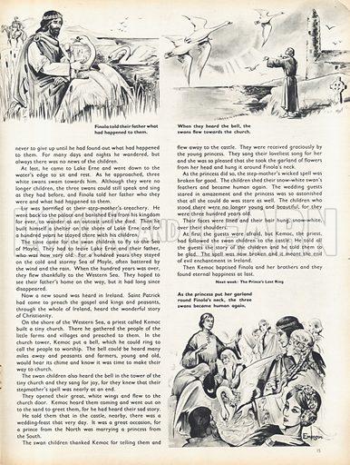 Three scenes from The Swan Children, an old Irish legend.