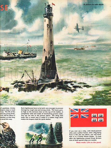 Wolf Rock lighthouse at Land's End with relief keepers and supplies being hoisted across to the lighthouse base.