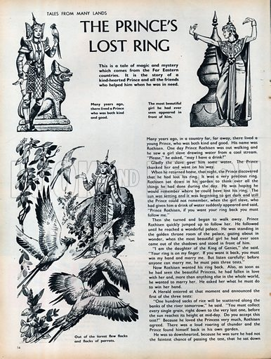 Three scenes from The Prince's Lost Ring, a tale from the Far East.