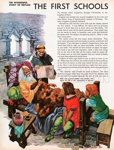 The Wonderful Story of Britain: The First Schools. Bede teaching children in the monastery at Jarrow.