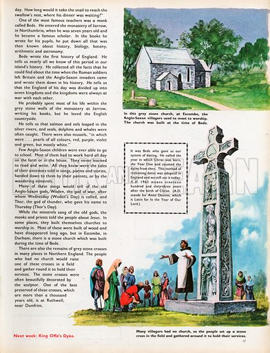 The Wonderful Story of Britain: The First Schools. Escombe Church and grey stone cross at Ruthwell, near Dumfries.