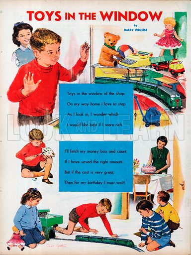 The text of the poem Toys in the Window by Mary Prouse with vignettes showing a train set in a shop and finally set up at a birthday party as the young boy's present.