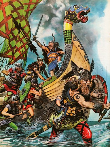 The Wonderful Story of Britain: The coming of the Vikings shows sailors landing from a highly decorated long-ship with dragon figure-head.