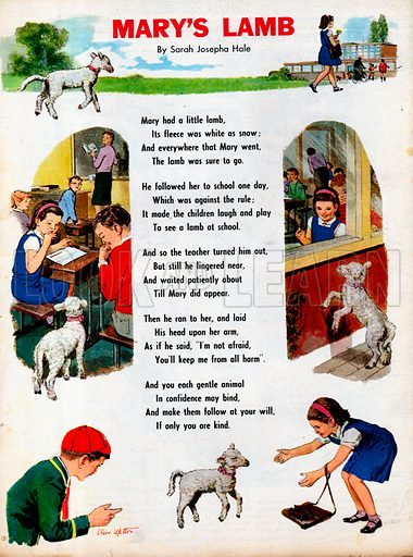 The text of the poem Mary's Lamb by Sarah Josepha Hale with vignettes of girl and lamb at school.
