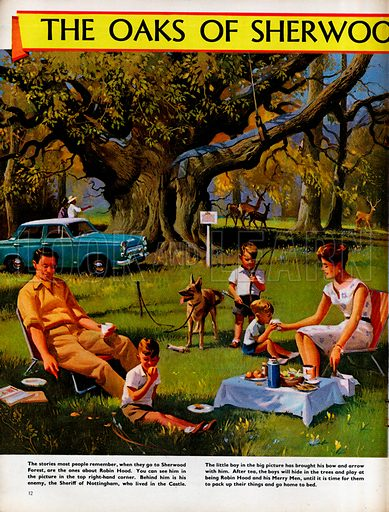 A family picnic in Sherwood Forest near the Major Oak, the oldest tree in the forest.