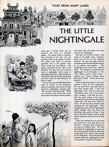 Three scenes from The Little Nightingale by Hans Christian Andersen.