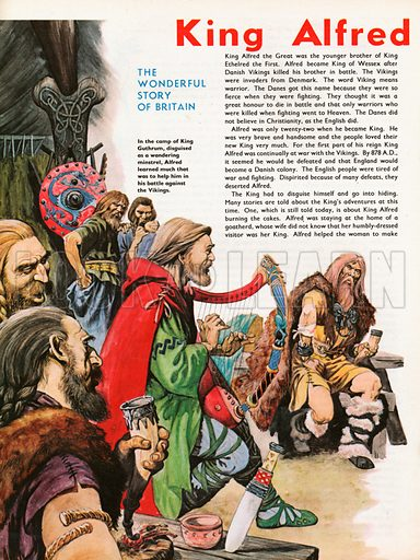The Wonderful Story of Britain: King Alfred the Great. Alfred disguised as a minstrel in the camp of King Guthrum.