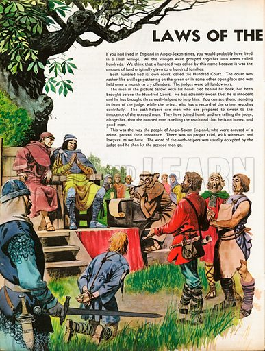 The Wonderful Story of Britain: Laws of the Anglo-Saxons. Trial in Anglo-Saxon village at the Hundred Court.