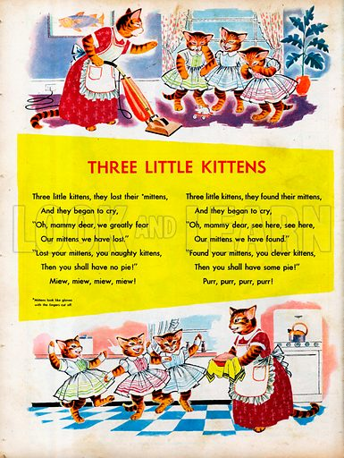 The text of the rhyme Three Little Kittens with two pictures.