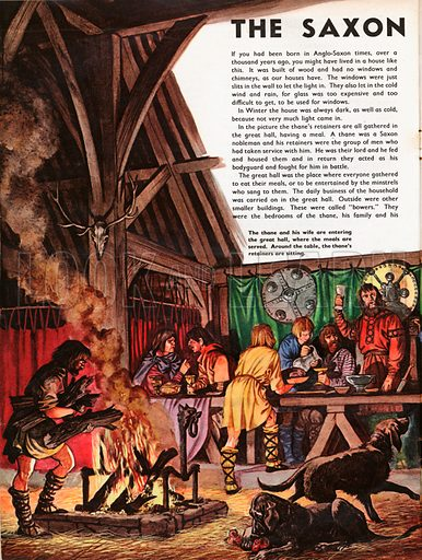 The Wonderful Story of Britain: The Saxon Hall. An Anglo-Saxon thane and his wife enter the great hall where the retainers are eating.