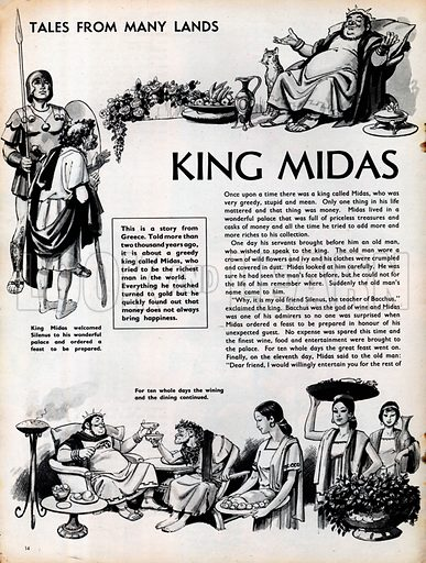Three scenes from the Greek story of King Midas.