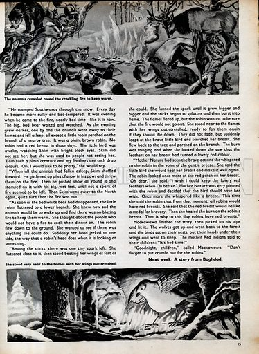 Two scenes from The Robin's Medal, a traditional Red Indian story.