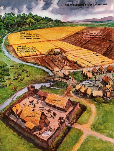 The Wonderful Story of Britain: Village Life. Aerial view of an Anglo-Saxon village and surroundiing fields.