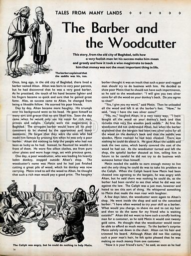 Two scenes from The Barber and the Woodcutter, a tale from old Baghdad.