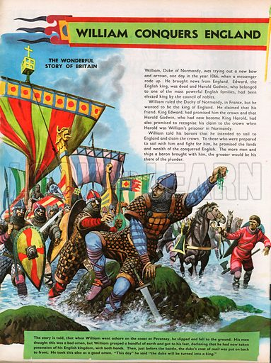 The Wonderful Story of Britain: William Conquers England. William the Conqueror slips as he steps ashore at Pevensey, his barons and ships in the background.