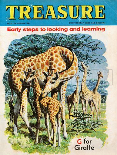 """G"" for Giraffe shows mother and baby giraffe."
