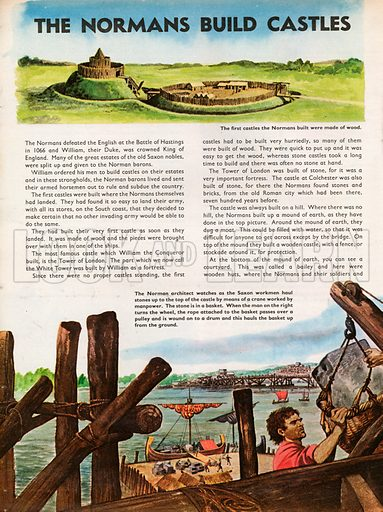 The Wonderful Story of Britain: The Normans Build Castles. Norman castle built of wood, with later castle-building using stone.