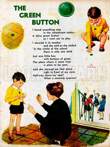 The text of the poem The Green Button by GW Evans, with a picture of the little boy who has lost it.