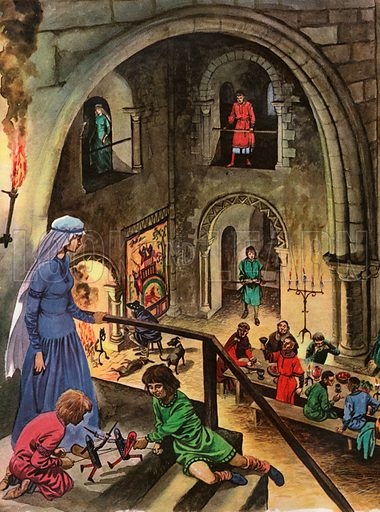 The Wonderful Story of Britain: The Norman Hall. This Norman great hall shows an evening meal for the baron's private army, with entertainment by Saxon minstrels and jugglers, while his wife looks down from the tall staircase on which his sons are playing with toy soldiers.