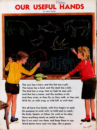 The text of the poem Our useful hands by Jane Taylor, showing a boy and girl drawing animals on a blackboard.