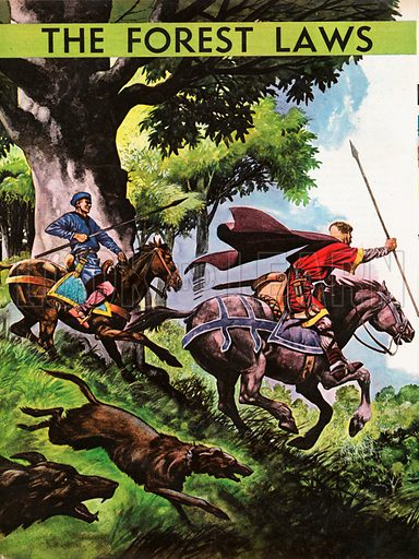 The Wonderful Story of Britain: The Forest Laws. Hunting in the time of William the Conqueror with two huntsmen on horseback pursuing deer, their dogs in full cry.
