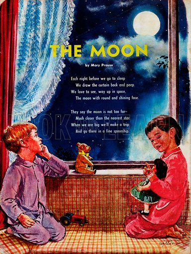 The text of the poem The Moon by Mary Prouse, showing a boy and girl looking at the full moon before bedtime.
