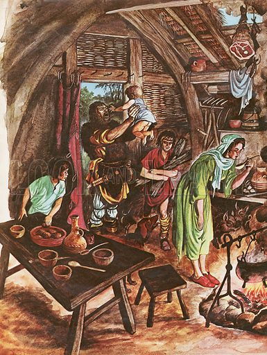 Inside a peasant's home showing three generations under the same thatched roof, animals in the living room and a pot cooking on the log fire in the middle of the floor.