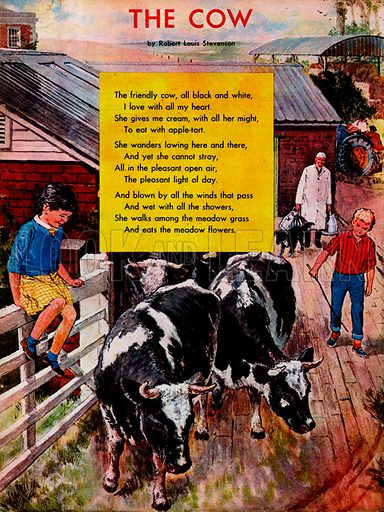Illustrated poem by Rober Louis Stevenson entitled The Cow.