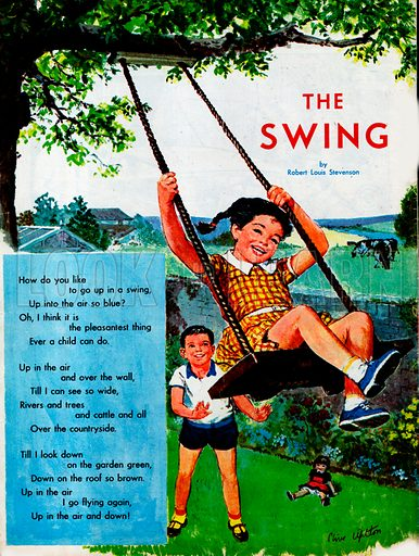 Illustrated poem by Rober Louis Stevenson entitled The Swing.