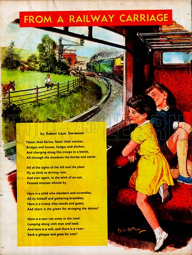 Illustrated poem by Rober Louis Stevenson entitled From a Railway Carriage.