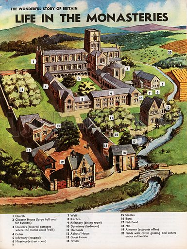 The Wonderful Story of Britain: Life in the Monasteries. Life in the monastery is illustrated by an aerial view of a monastic foundation, the various buildings and their uses being indicated by a numerical key.