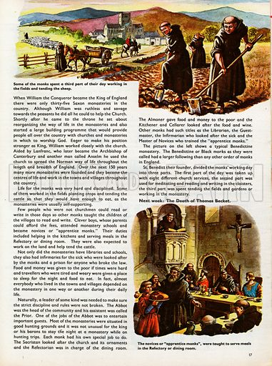 The Wonderful Story of Britain: Life in the Monasteries. Monks work in the fields and tend the sheep, while novices serve meals in the Refectory.