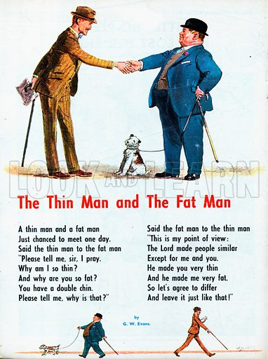 Illustrated poem by G W Evans entitled The Thin Man and The Fat Man.