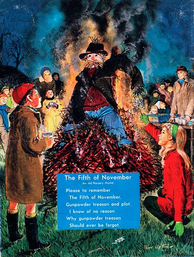 Illustrated nursery rhyme entitled The Fifth of November.