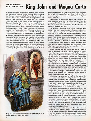 The Wonderful Story of Britain: King John and Magna Carta. A baron's wife and son are imprisoned, their gaoler leaving with enormous key in hand.