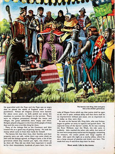 The Wonderful Story of Britain: King John and Magna Carta. The baronss meet King John at Runnymede and present him with Magna Carta.