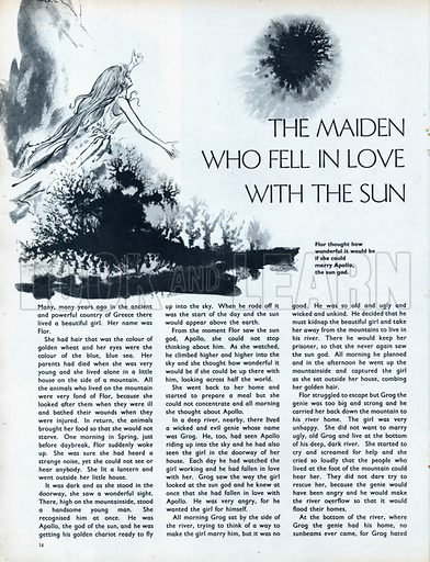 Scenes from the Greek legend The Maiden who fell in love with the Sun.