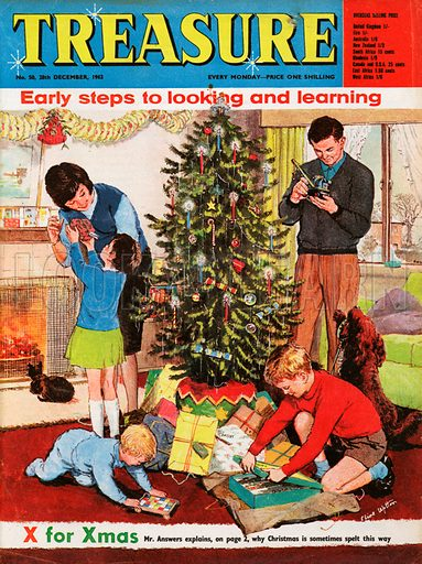 """""""X"""" for Xmas shows a family round the Christmas tree opening presents on Christmas morning."""